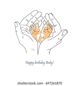 New born baby feet in mother hands. Cute vector illustration for Mother's Day greeting card, baby shower invitation. Maternity and happy family.