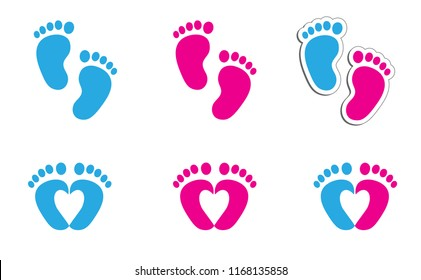 New born, pregnant or coming soon footprints shoes and shoe sole. Kids or baby feet and foot steps Fun vector footsteps icon for print. Love heart blue boy or pink girl sign