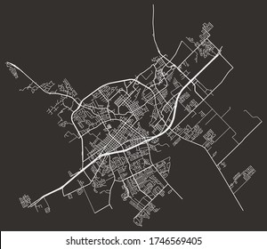 New Braunfels, Texas, United States urban city map with roads and lanes, town center and periphery, downtown and suburbs, minimalist wall poster, road network, city footprint plan