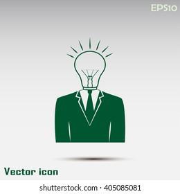 New bright idea form human head, thinking about success solution, lightbulb as creativity metaphor. vector illustration.