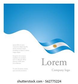 New brochure abstract design modular single pattern of wavy flag ribbon of Argentina