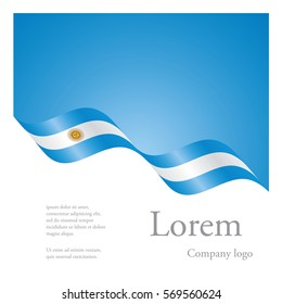 New brochure abstract design modular pattern of wavy flag ribbon of Argentina
