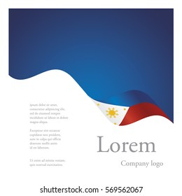 New brochure abstract design modular single pattern of wavy flag ribbon of Philippines