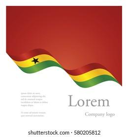New brochure abstract design modular pattern of wavy flag ribbon of Ghana