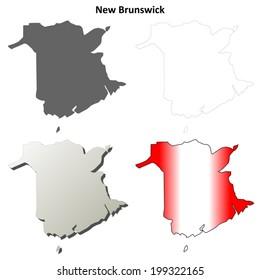 New Brunswick blank outline map set - vector version