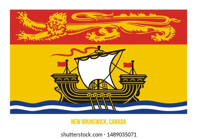 New Brunswick Flag Vector Illustration on White Background. Provinces Flag of Canada. Correct Size, Proportion and Colors.