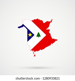 New Brunswick map in New England Acadians flag colors, editable vector.