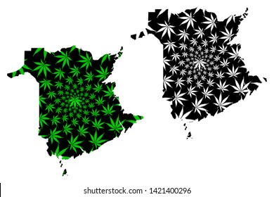 New Brunswick (provinces and territories of Canada) map is designed cannabis leaf green and black, New Brunswick map made of marijuana (marihuana,THC) foliage,