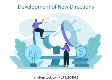 New business directions development concept. Business expansion. Idea of company promotion for a new marketplace. Marketing and indastrial development. Isolated flat illustration