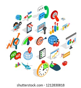 New business icons set. Isometric set of 25 new business vector icons for web isolated on white background