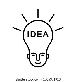 New business idea concept. Linear icon of human head in shape of light bulb. Illustration of creative solution, smart person, idea generator. Contour isolated vector on white background