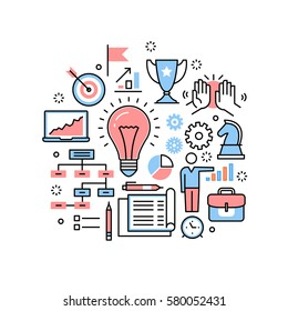 New business ideas, strategies and collaboration practices research. Modern thin line icons art work collage. Linear illustration isolated on white background.