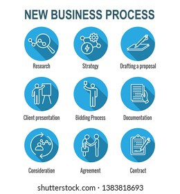 New Business Process Icon Set w Bidding Process, Proposal, & Contract