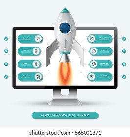 New business project start up concept. Space rocket launch from the computer monitor. Infographic template with 8 options, steps, parts. Vector illustration