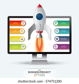 New business project startup concept. Space rocket launch from the computer monitor. Infographic template with 8 options, steps, parts. Vector illustration