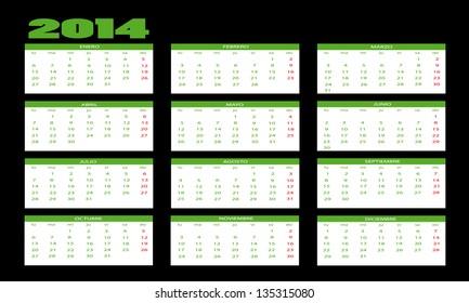 New calendar 2014 in spanish