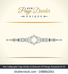 New Calligraphic book Page Divider and Elements of vintage ornament. Crest or retro logo in vector lines. Golden royal decorative border
