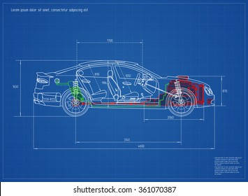New Car Blueprint. Vector Illustration. Eps 10