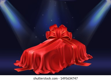 New car presentation, automobile lottery prize, expensive gift 3d realistic vector concept. Passenger car covered red satin, silk veil with ribbon bow, illuminated stage searchlights illustration