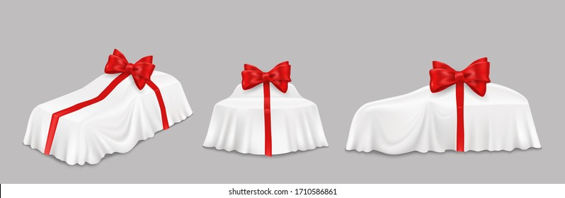 New car surprise gift reveal, vector isolated illustration. Vehicle covered with realistic white unveiling cloth., red ribbon with bow. Auto show, car present reveal event.