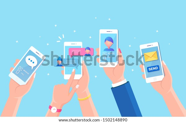 New chat messages notification on mobile phone. Sms bubbles on cellphone screen. People chatting. Vector flat design
