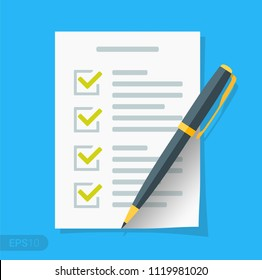 New Checklist flat icon. Document with green ticks checkmarks. Checklist and pen. Application form, complete tasks, to-do list, survey concepts in EPS 10 format Vector sign