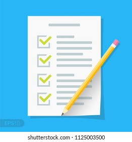 New Checklist flat icon. Document with green ticks checkmarks. Checklist and pencil. Application form, complete tasks, to-do list, survey concepts in EPS 10 format Vector sign