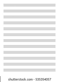 New clean abstract single print pad element for musicnotes stave notation. Black ink drawn graphic with space for text
