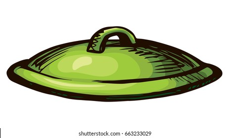 New clean ceramic pan lid icon isolated on white background. Freehand bright pea color hand drawn picture logo sketchy in art retro scrawl style. Close up view with space for text