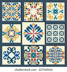 New Collection of 9 ceramic tiles, blue-orange style