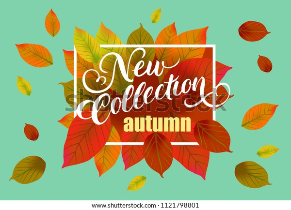 New collection autumn lettering with falling leaves. Creative inscription with colorful leaves in frame. Illustration with lettering can be used for banner, posters and leaflets