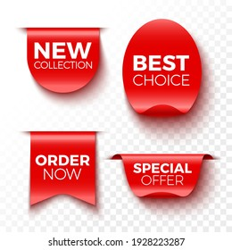 New collection, best choice, order now and special offer banners. Red sale tags. Stickers. Vector illustration.