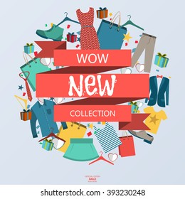 The new collection of clothes and accessories banner. Collection of backgrounds. Most new collection. A new collection of vector. Super new collection and special offer. Vector illustration.