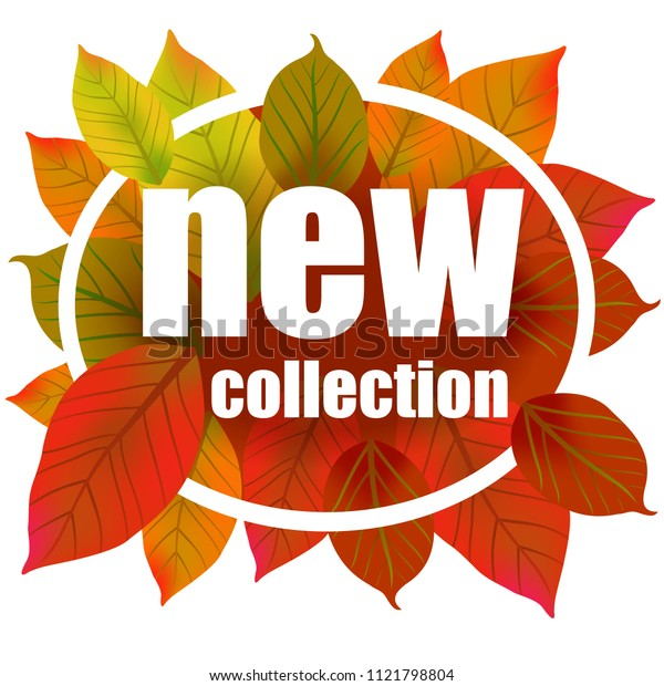 New collection lettering in circle. Creative inscription on colorful autumn leaves. Illustration with lettering can be used for banner, posters and leaflets