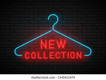 New Collection neon sign. Neon Dry Cleaning Glowing Sign With Hanger On A Dark Brick Wall Background.Clothes hanger with new arrival tag. Vector illustration.