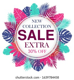 New collection sale banner design for promotion, poster, leaflet, placard, newsletter, with tropical leaves. Vector illustration.