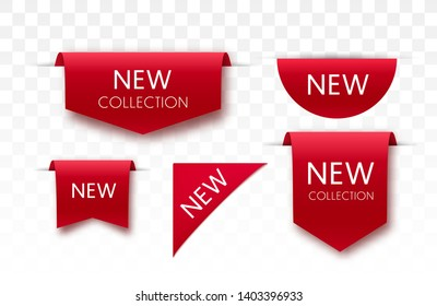New collection tags. Vector badges and labels isolated.