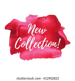 New Collection vector card, poster, logo, words, text written on pink red painted background illustration