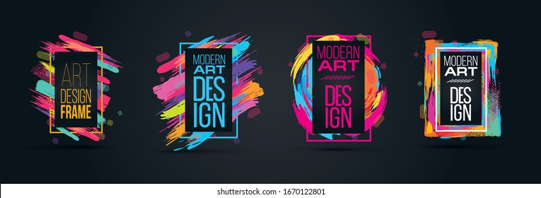 new collection Vector frame for text Modern Art graphics for hipsters . dynamic frame stylish geometric black background with gold. element for design business cards, invitations, gift cards