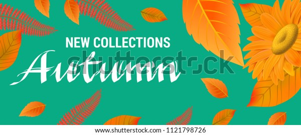 New collections Autumn lettering with orange leaves. Creative inscription with gerbera on blue background. Illustration with lettering can be used for banner, posters and leaflets