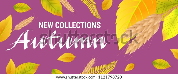 New collections Autumn lettering with wheats and leaves. Creative inscription on purple background. Illustration with lettering can be used for banner, posters and leaflets