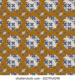 New color seamless pattern with many flowera.