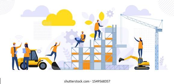 Neue Bauarchitektur. Gebäudetechnik vor Ort. Männliche und weibliche Ingenieure in harten Hüten diskutieren neue Projekte. Ein Zuhause bauen. Vektorgrafik