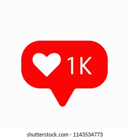 New Counter Notification Icon. Follower. New Icon likes 1K Instagram symbol, button, ui, web. Social media likes 1000. Vector illustration. EPS 10