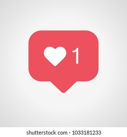 New Counter Notification Icon Instagram. Follower. New Icon like 1 insta symbol, button. Social media like insta ui, app, iphone. Vector illustration. EPS 10.