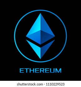 new crypto currency Etherium, to replace bitcoin. Icon of the sign of Etherium on the background of crypto-currency mining. vector illustration