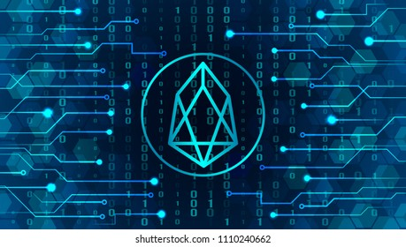 a new crypto currency, to replace bitcoin. Icon of the sign of EOS on the background of crypto-currency mining. vector illustration concept of blocking and earnings on the Internet online