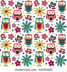 New cute animal seamless pattern made with owls, flowers, nature, plants, leaves, triangles, circles