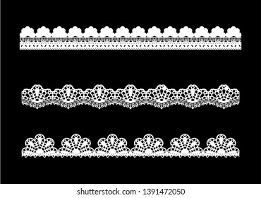 new decorative Scallop Borders Set. vintage fabric ribbons. lace