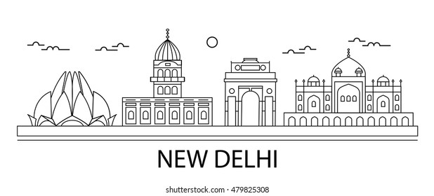 New Delhi city skyline in linear style, vector illustration. Includes different  lined New Delhi monuments and buildings